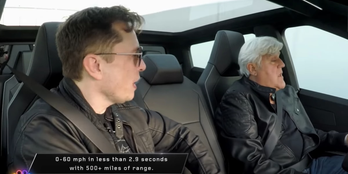 Jay Leno takes the Cybertruck for a spin