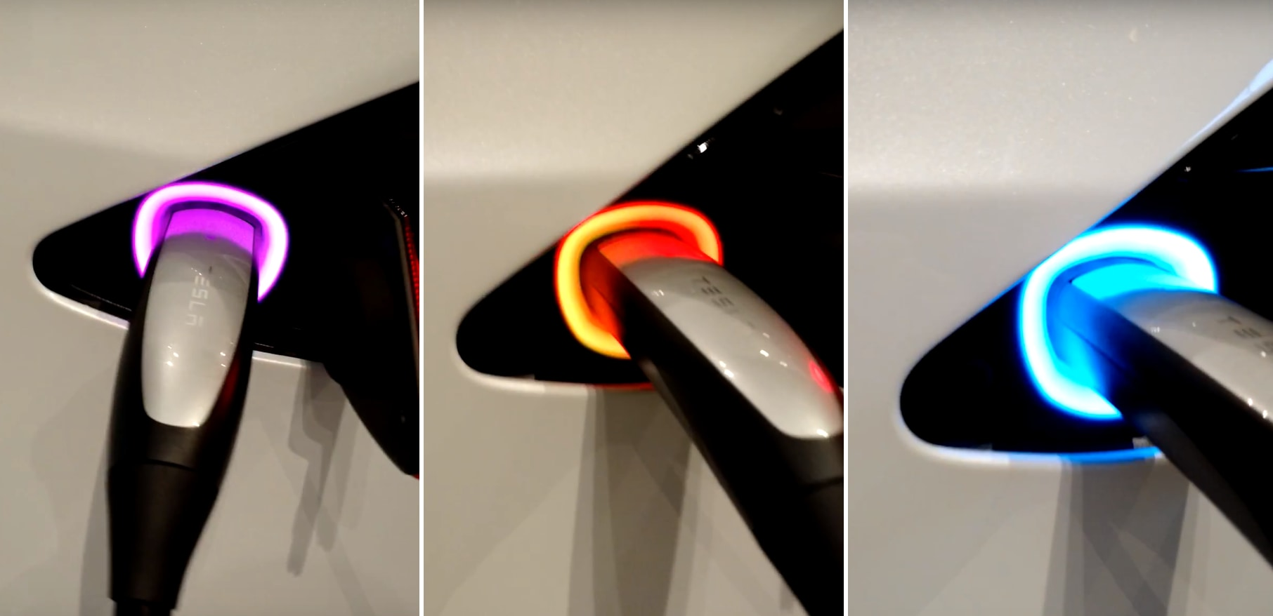 Tesla Chargeport fades in and out in different colors